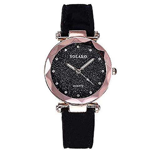 WSSVAN Fashion Star PU cinturón Reloj de Cuarzo Mujer Cuero Mate Reloj de Cuarzo Punto de Plata Estrella del niño Mano Regalo Mesa Nueva Hot Flash Taladro señoras Reloj (Negro)