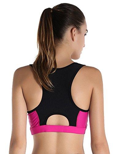 Exerin Brasier Deportivo de Espalda Cruzada con Acolchado extraíble y sin Aros de Alto Impacto para Mujer - Rojo - US Medium/Etiqueta Large
