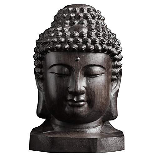 Denpetec Wooden Buddha Statue Religious Sakyamuni Buddha Head Figurine Statue Collection, Asian-Themed Indoor Meditating Statuary