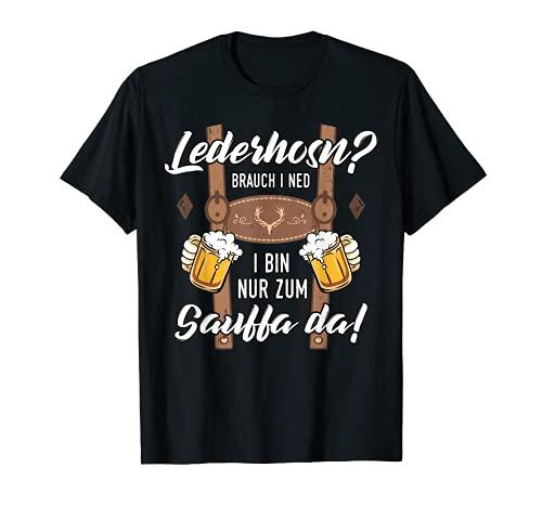 Herren Lederhosn Sauffa Bier Trachten Shirt Oktoberfest Herren T-Shirt