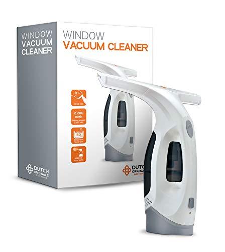 DUTCH ORIGINALS weißer Akku Fenstersauger mit 30 Minuten Akkulaufzeit, Fensterreiniger mit Mikrofaserbezug und 300 ml Sprühflasche, Streifenfreie Fensterreinigung, 150 ml Tank