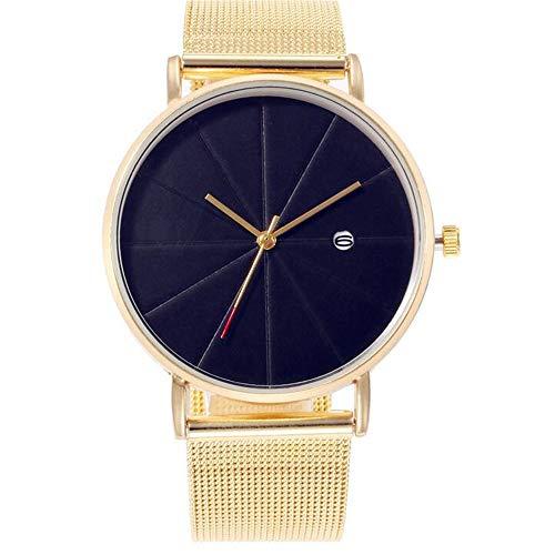 ZSDGY Reloj de Correa de Malla de Escala Simple, Reloj de Cuarzo de Calendario para Hombres y Mujeres B