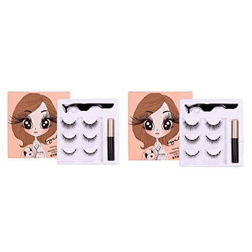 ZRSZ Magnetic Eyelashes Magnetic Eyeliner Set Eyeliner Magnétique Imperméable à L'eau Anti-transpiration Adhésif Cils Artificiels Réutilisables [3 Paires]
