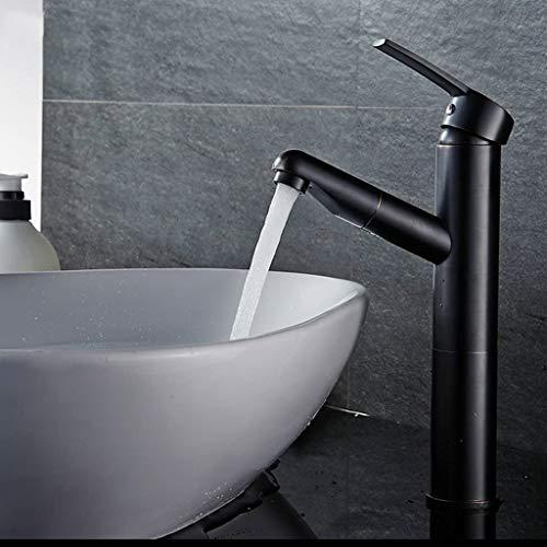 Trekkraan, zwart, koper, uniek gat, warm en koud regeling, voor badkamer, badkamer, gezichtsreiniging, kopopening, 32 mm tot 40 mm, kan worden geïnstalleerd (afmetingen: 115 mm x 275 mm) 115mm*275mm
