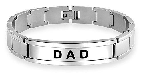 Bling Jewelry Dad Daddy Name Plate Bicycle Wristband Link ID Bracelet for Men Father Silver Tone Stainless Steel