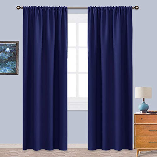 NICETOWN Insulated Curtains Blackout Draperies - Window Treatment Energy Saving Solid Blackout Rod Pocket Curtains/Drapes for Living Room (Royal Navy Blue, 1 Pair,42 by 84-Inch)
