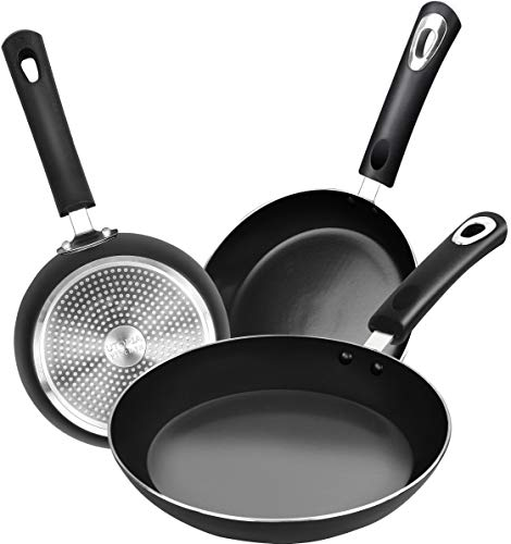 Utopia Kitchen Nonstick Frying Pan Set - 3 Piece Induction Bottom - 8 Inches, 9.5 Inches and 11 Inches (Grey-Black)