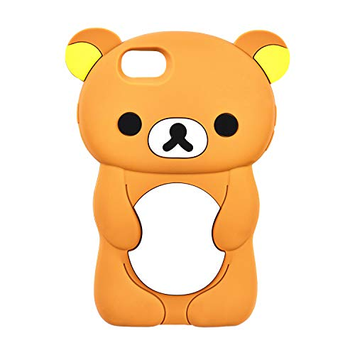 Relax Bear Case for iPhone 5/iPhone SE/iPhone 5C/ iPhone 5S,3D Cartoon Animal Character Cute Soft Silicone Rubber Brown Cover,Animated Fashion Cool Skin Shell for Kids Child Teens Girls(iPhone5)