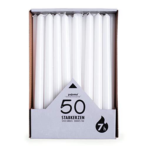 pajoma Velas de candelabro, color blanco, 50 unidades, altura de 25 cm, duración de combustión de 7 horas aprox.