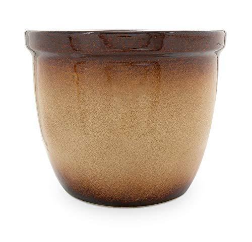 K&K Pot de fleurs / Jardinière Venus II, 45x37cm marron ombré flammé céramique de grès (Haute qualité)
