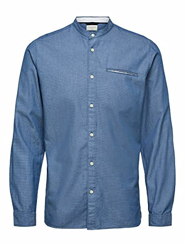 SELECTED HOMME SLHSLIMTEXAS Shirt LS China W Noos Camicia, Blu Sensini, L Uomo