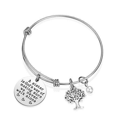 Sister Bracelet Sister Gift - A Sister is God's Way of Making Sure We Never Walk Alone Sister Jewelry Sister Gifts from Sister Christmas Birthday Gifts for Sisters (A)