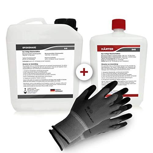 Epoxidharz mit Härter | 4,5kg GfK set | Profi Qualität glasklar & geruchsarm | Gießharz für Holz + Schutzhandschuhe
