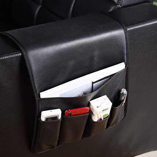 Organizador de sofá,Organizador de reposabrazos de sofá de Cuero Colgante,Bolsa de Bolsillo de Almacenamiento de Cama para el Bloc de Notas de la Tableta del teléfono móvil (marrón,Negro,Gris) (Black)
