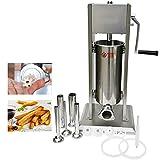 Hakka 2 en 1 Llenador de salchichas y máquina para hacer churros española, 5 litros de salchicha con 5 embudos S/S