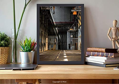 №15912 Modern Wall Decor,Framed Wall Art,Industrial Decor,Dark Industrial Interior of an Old Building Place of Manufacturing Hangar Decorative,Multicolor, Best for Gifts