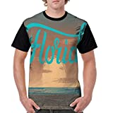 Man's T Shirts,Hand Painting Style Grungy Sunset Scenery at Coastline with Palm Tree Silhouettes XX-L