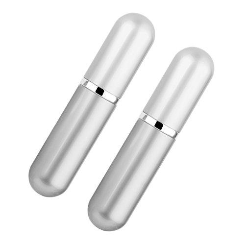 Lot de 2 Atomiseur Bouteille de Parfum Flacon Pompe de Pulvérisation pour Voyage Sac à Main - Argent