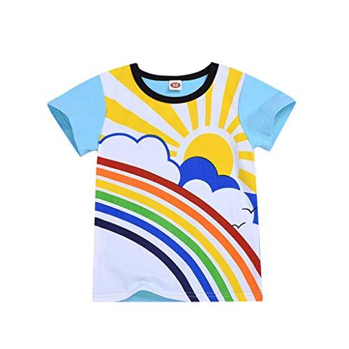 PinkLu Bebé niño Manga Corta 2019 Nuevo o-Cuello Niños niñas Arcoiris Luna Sol Impresa Camiseta Tops Ropa (6-12 meses/80cm, Blanco)