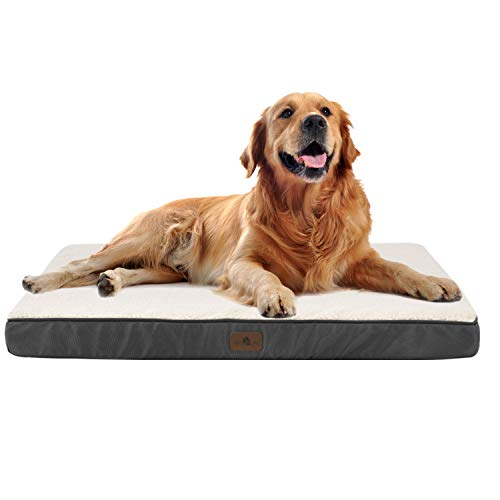 Juskys Hundebett Milow orthopädisch – 92 x 69 x 8 cm - Bezug abnehmbar & waschbar – Hundekissen mittelgroße Hunde – Hundematte – Grau