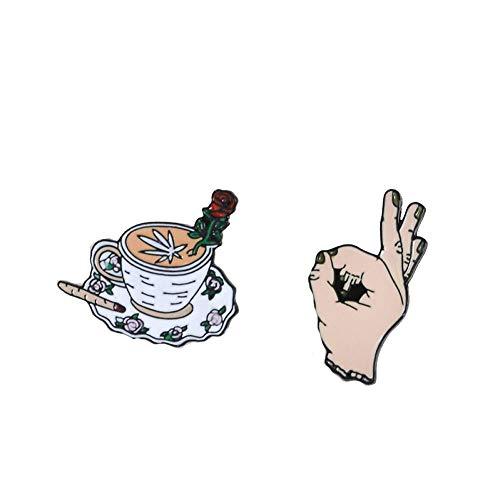 NSXZ Brosche Satz von 2 Kaffeestifte Mittelfinger-Stifte Emaille-Stifte Rucksack Tasche Hut Lederjacken Mode-Accessoire Männer Frauen