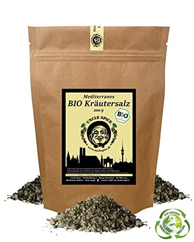 Uncle Spice Mediterranes BIO Kräutersalz- 200g Bio-Gewürzsalz - PREMIUMQUALITÄT - Meersalz mit BIO Kräutern der Provence - DE-ÖKO-005 - von Hand gemischt - Perfekt für Salate