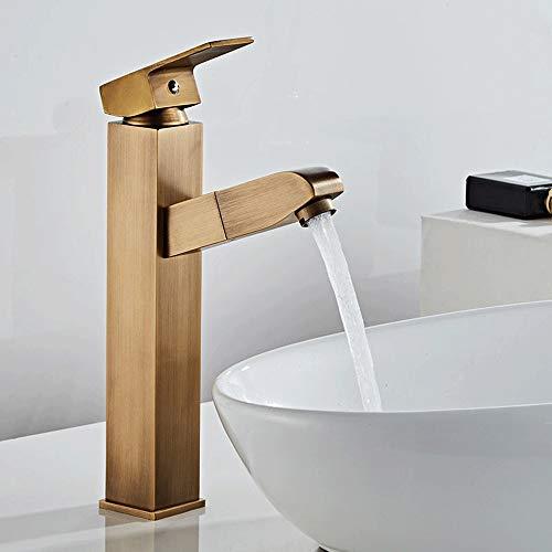 Lujo ligero todo de cobre estilo europeo simple grifo extraíble caliente y frío retro sobre el lavabo del baño champú lavabo lavabo mano encima del lavabo (tamaño: grande)