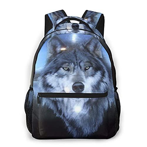 Lawenp Mochila Unisex de Moda con Detalle de carenado de Lobo, Mochila Ligera para portátil para Viajes Escolares, Acampar al Aire Libre
