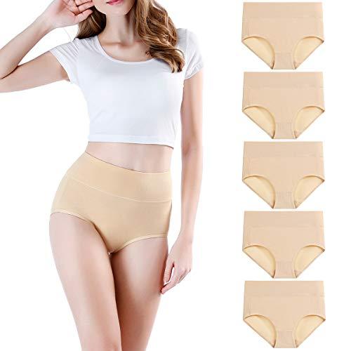 wirarpa Culotte Femme Coton Taille Haute Slips Lot de 5 Beige Taille M