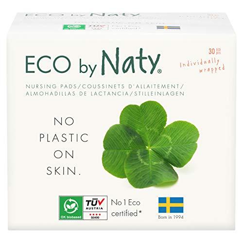 Eco By Naty, Coppette Assorbilatte Ecologiche, 30 coppette. Ultra assorbente, compostabile, realizzato in bambù, pasta di legno e velo compostabile. 0% di plastica.
