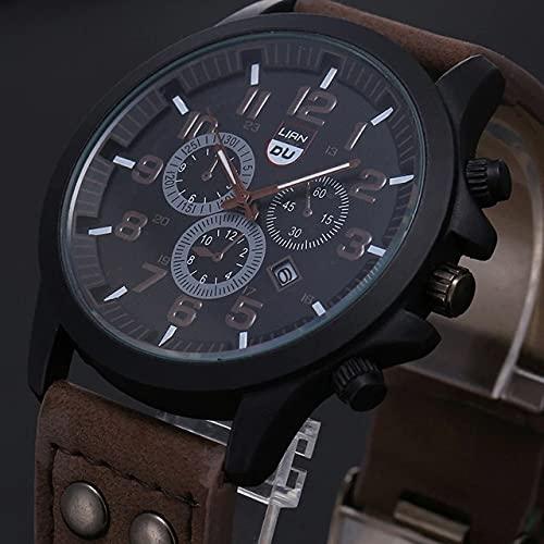 ZWH Reloj de Cuarzo analógico de Cuero Militar a Prueba de Agua. (Color : Coffee)