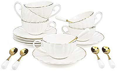 Yesland 6 Set Royal Tea Cups and Saucers with Gold Trim, 8 Oz White Porcelain Tea Set & British Coffee Cups