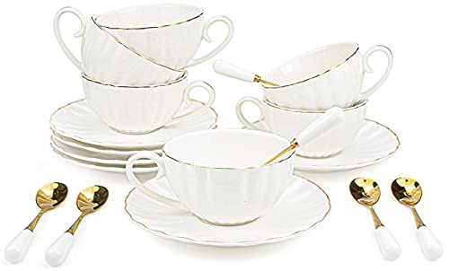 Yesland Set of 6 Royal Tea Cups and Saucers with Gold Trim, 8 Oz White Porcelain Tea Set & British Coffee Cups