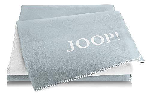 Joop!® Uni-Doubleface I flauschig-weiche Kuscheldecke Himmel-Natur I Wohndecke aus Baumwolle & Dralon® in hellblau I Tagesdecke 150x200cm | nachhaltig produziert in DE I Öko-Tex Standard 100