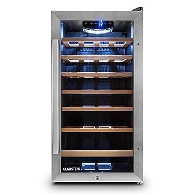 Klarstein Vivo Wine 26 Wine Cellar - Beverage cooler, 26 bottles, 88 L, LED, temperature control, Interchangeable hinge, Door on both sides, stainless steel, Silver