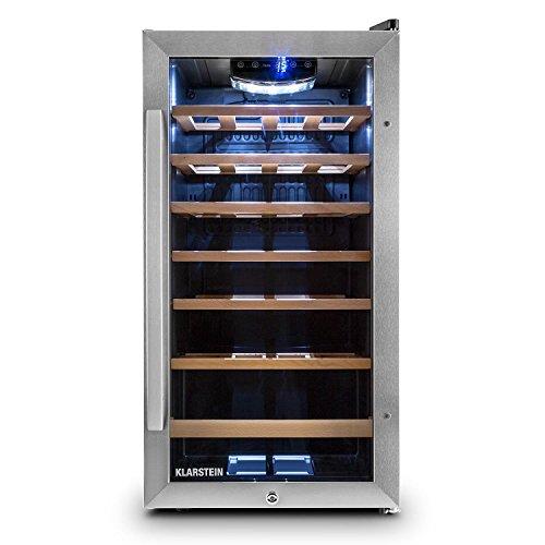 Klarstein Alleinversorger Kühlschrank Standkühlschrank (90 Liter, 82 cm hoch, 7 L Eisfach, Gemüsefach, Edelstahltür, Türanschlag wechselbar) schwarz