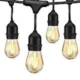 LED Outdoor String Lights for Patio - 48FT Commercial Waterproof Strand Patio String Lights, Hanging 2W Dimmable Edison Vintage Plastic Bulbs - Heavy-Duty Patio Lights Porch Market Light for Backyard