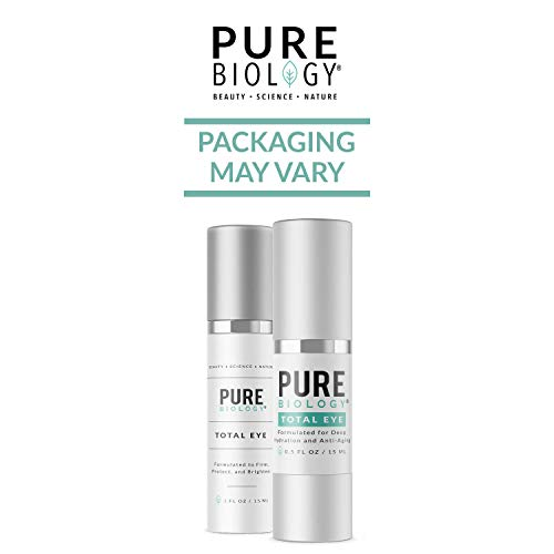 41v9IgrFoqL - Pure Biology Premium Total Eye Cream Serum - Anti Aging Vitamin C, E & Hyaluronic Acid Reduce Dark Circles, Puffiness, Under Eye Bags, Wrinkles & Fine Lines for Men & Women (0.5 oz)