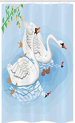 ABAKUHAUS Swans Douchegordijn, Gracious River Nature Scenery, voor Douchecabine Stoffen Badkamer Decoratie Set met Ophangringen, 120 x 180 cm, Pale Blue Multicolor
