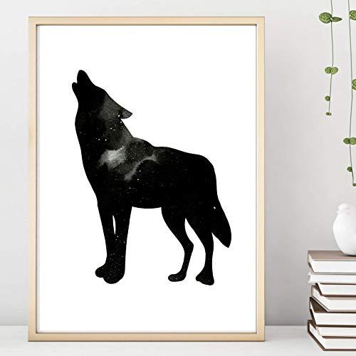 Din A4 Kunstdruck ungerahmt Heulender Wolf Nachthimmel Sterne Aquarell Wasserfarbe schwarz Geschenk Druck Poster Deko Bild