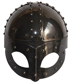 SA International Black Antique Plated Medieval Viking Mask Helmet with Liner & Strap