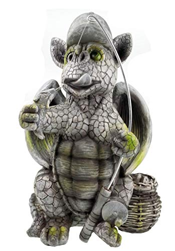 Kremers-Schatzkiste Drachenkind Angler 27 cm Drache Figur Gartenfigur Gargoyle Skulptur Fische