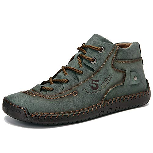 Dacomfy Mens Chukka Boots, Casual Boots for Men Hand Stitching Leather Shoes Comfortable Vintage Oxford Loafers for Male Green 10.5