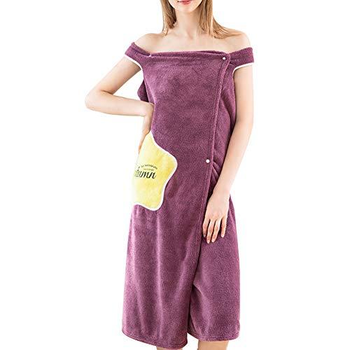 Raburt Women Quick Dry Wearable Microfiber Plush Bathrobes Thick Super Absorbent Cute Adult Bathing Bath Skirt