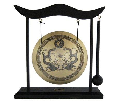 Yudu - Gong de mesa con soporte de madera (incluye mazo), diseño con dragón