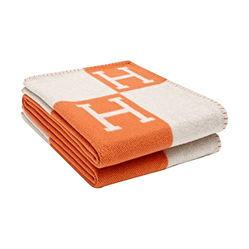 Hinyast Cashmere Throw Blanket Chair Cover, Cashmere Knitted Throw Blanket for Outdoor/Travel/Home, Soft Wool Bed Blanket for Bed Couch Decorative Sofa,Orange/White,53' x 67'