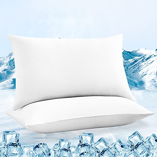 LUXEAR Pillowcases, 2 Pack Ultra Cooling Pillowcases with Japanese Q-max 0.55 Arc-Chill Cooling Fiber, Fit Standard & Queen Size Pillows, Anti-Static Perfect for Hair/Skin, Night Sweat-White