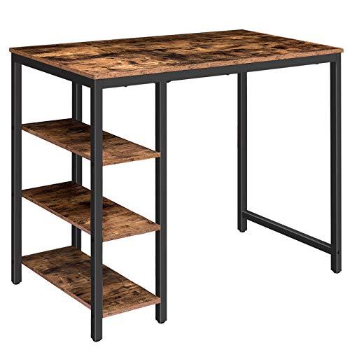 HOOBRO Bartisch, Stehtisch mit 3 Regalböden, Küchentisch für Wohnzimmer, Esszimmer, 120 x 50 x 90 cm, stabiles Metallgestell, leicht zu montieren, Dunkelbraun EBF60BT01