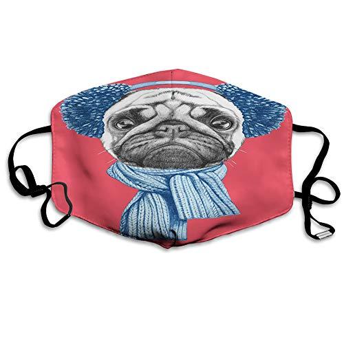 Cómoda cubierta de cara a prueba de viento, dibujo detallado de perro con orejeras de bufanda en fondo de coral oscuro animal, decoraciones faciales impresas para adultos