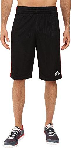 adidas Men's Basketball Triple Up Shorts, Black/Scarlet, X-Large